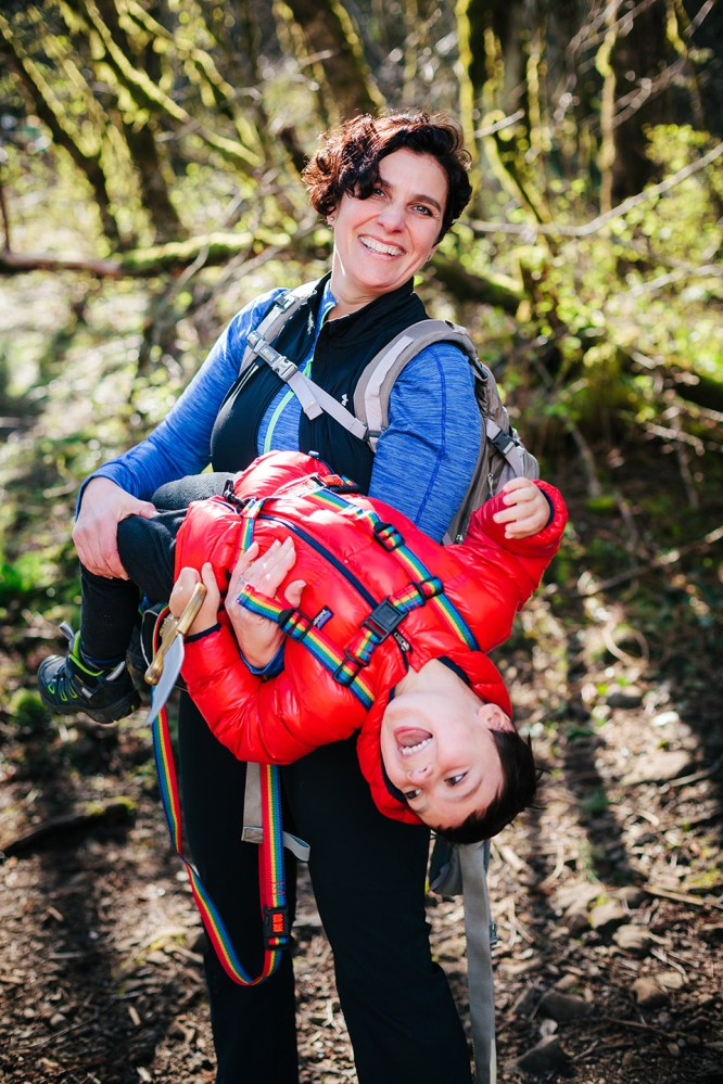 Hike It Baby founder Shanti Hodges and her son Mason pose before a group excursion at the Upper McCord Creek trail in the Columbia River Gorge.